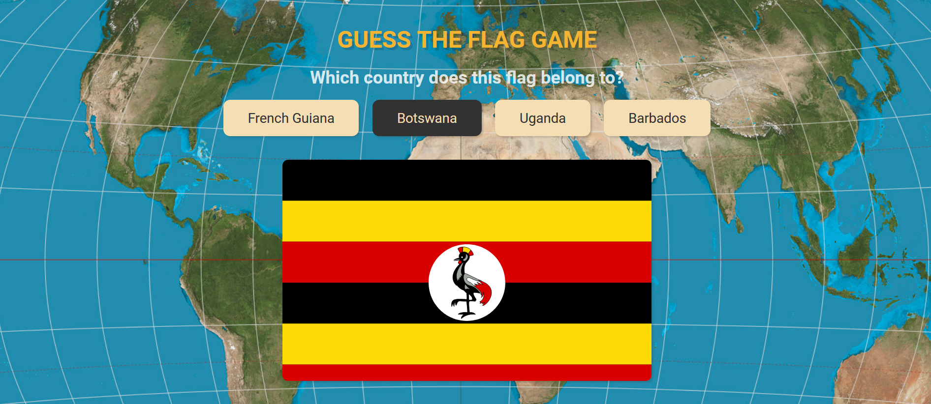 Screenshot of the game: Guess the flag